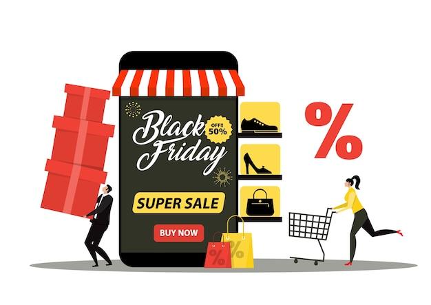 Negozio del venerdì nero, negozio online del negozio della donna, illustrazione di marketing dell'acquisto promozionale