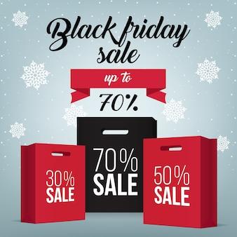 Borsa di shopping nera venerdì e modello di vendita tag marketing.