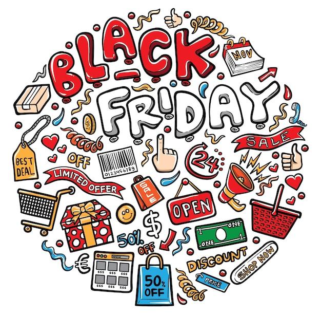 Illustrazione di doodle icona kawaii dello shopping venerdì nero