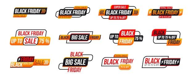 Etichetta dello shopping venerdì nero su sfondo bianco. collezione di tag del black friday.