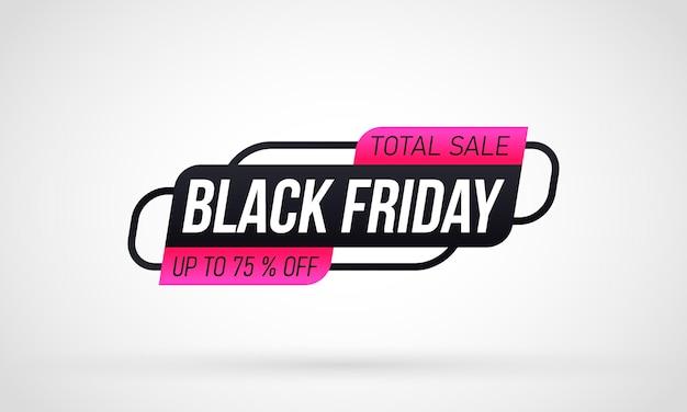 Etichetta dello shopping venerdì nero su sfondo bianco