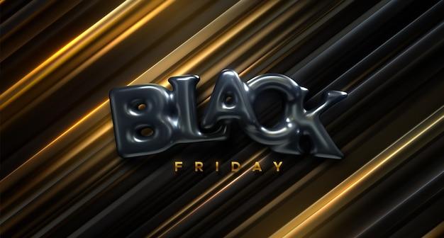 Segno di venerdì nero. illustrazione 3d. lettere di bolla nere su sfondo a strati. sfondo geometrico astratto. vendita o sconto banner design