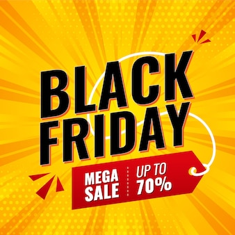 Modello premium banner social media venerdì nero, post, banner di vendita o banner di sconto