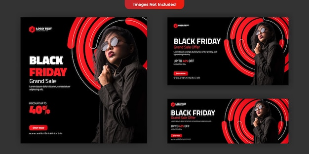 Modello di banner per social media del black friday