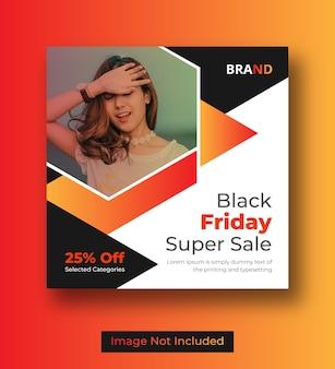 Modello di banner di social media venerdì nero Vettore Premium
