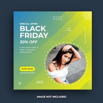 Modello di banner di social media venerdì nero.
