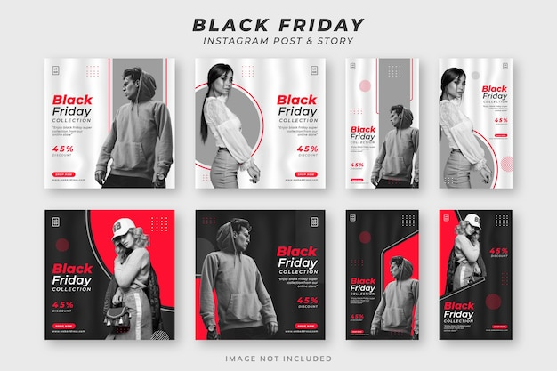 Black friday social media instagram post & story set template