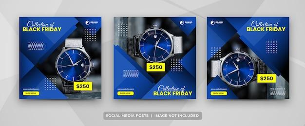Set di modelli di banner per feed post sui social media del black friday