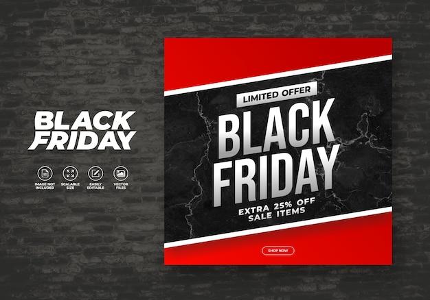 Modello di banner post feed per i social friday del black friday
