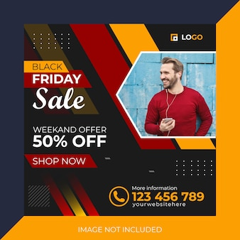 Modello di progettazione dell'offerta di post sui social media del black friday offerta di vendita del fine settimana modello eps del black friday