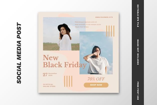 Black friday social media post modello di banner quadrato