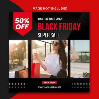 Black friday modello di post sui social media e design di banner web