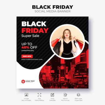 Modello di post sui social media del black friday