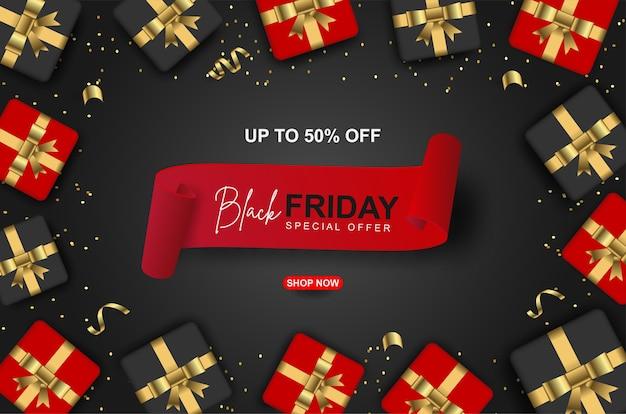 Modello di banner offerta speciale venerdì nero con scatola regalo realistica.