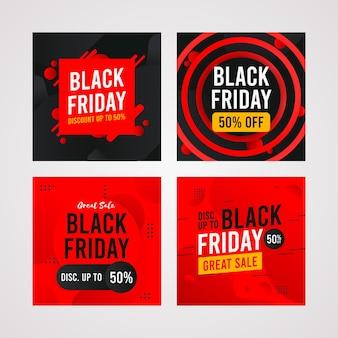 Banner quadrato del black friday, raccolta di pacchetti di social media, modello di post di instagram