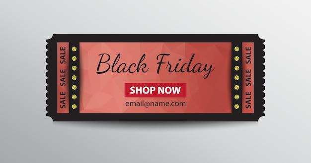 Modello di biglietto stub del black friday con invito per lo shopping ora.