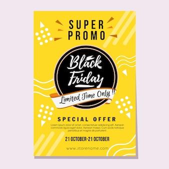 Black friday super promo vendita stile piatto
