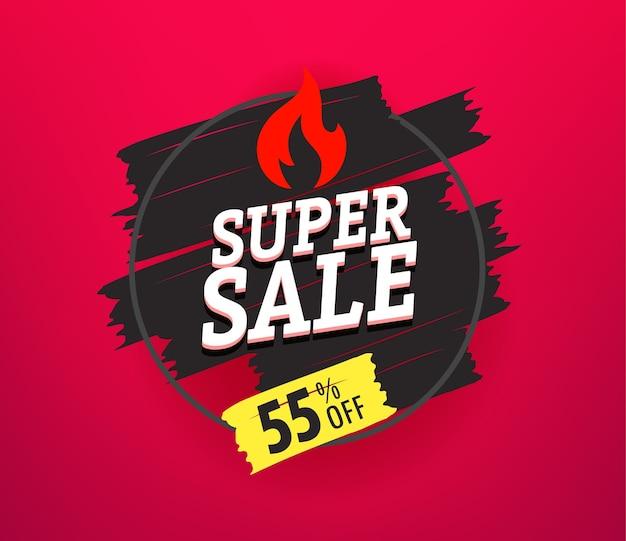 Banner pubblicitario di vendita super venerdì nero. 55 per cento di sconto