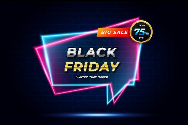 Banner di vendita super venerdì nero con effetto neon