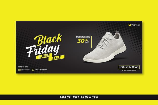 Modello di banner copertina facebook di vendita super venerdì nero