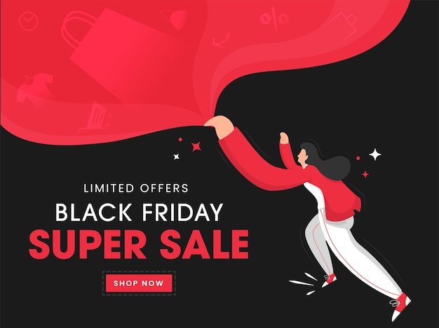 Black friday super sale poster design con personaggio dei cartoni animati di donna