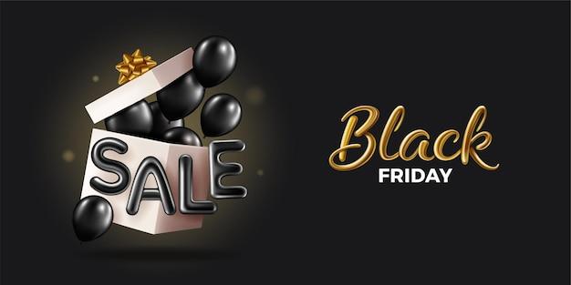 Black friday super sale scatola regalo nera realistica aperta piena di palloncini neri