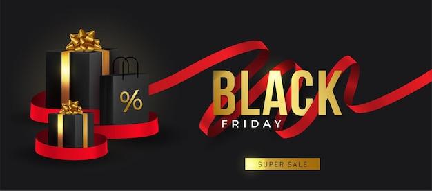 Black friday super sale scatole regalo nere realistiche confezione regalo piena di oggetti decorativi festivi