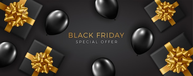 Super svendita del black friday. scatole regalo nere realistiche. testo dorato.