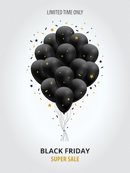 Modello di super vendita del black friday con palloncini neri, stelle dorate e stelle filanti.