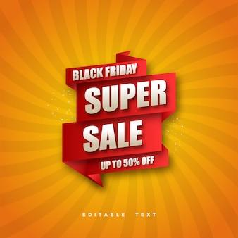 Super vendita del black friday con disegno rosso su sfondo arancione.