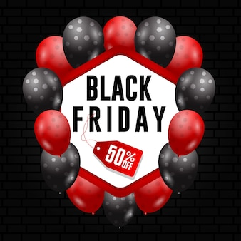 Banner modello venerdì nero con concetto di ballon
