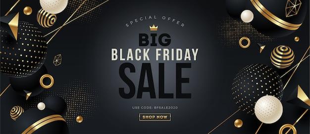 Design del modello black friday con elementi e forme geometriche nere e oro.