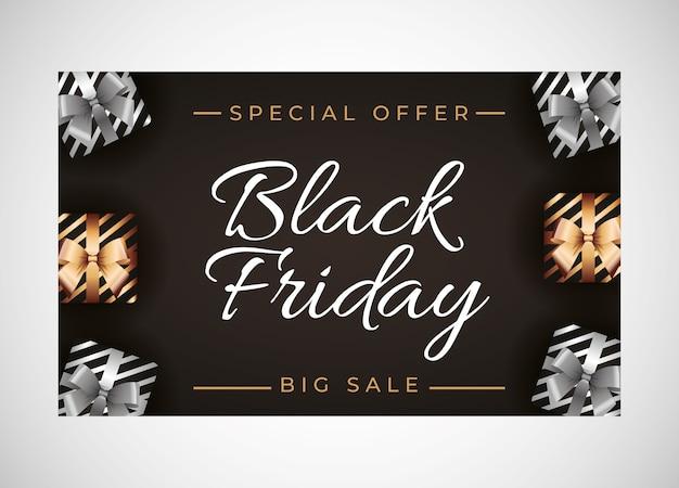 Modello di venerdì nero con regalo d'argento e oro su sfondo nero