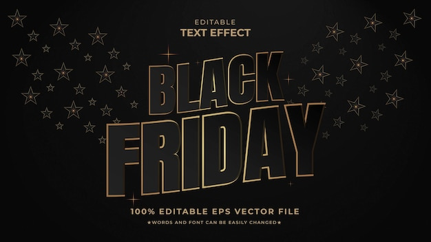 Black friday effetto testo modificabile stile nero vettoriale premium