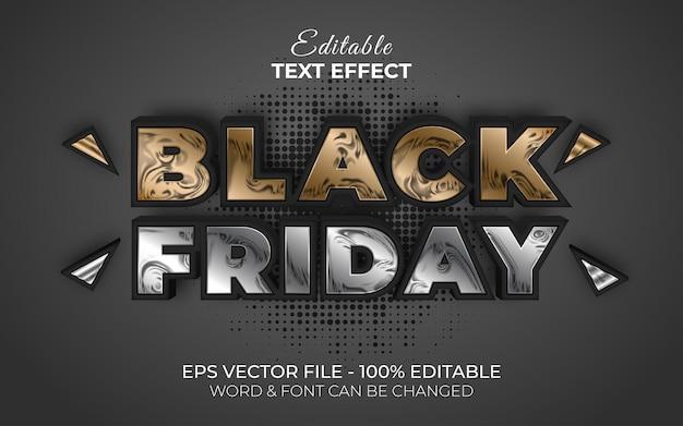 Black friday effetto testo stile metallo tema di vendita effetto testo modificabile