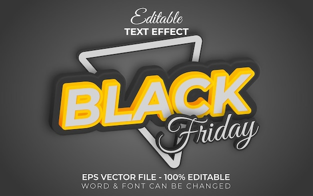 Stile effetto testo venerdì nero tema di vendita effetto testo modificabile