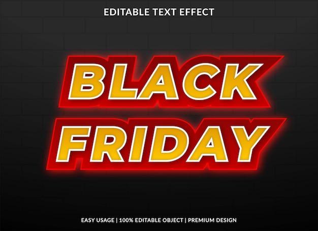 Modello di effetto testo del black friday vettore premium