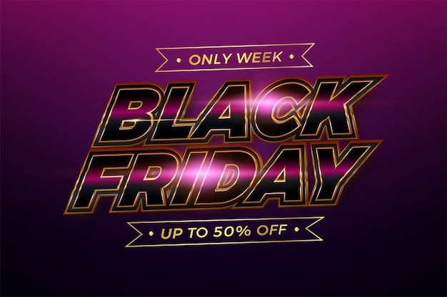 Black friday tema effetto testo metal pink realistico con concetto di luce per flayer alla moda e mercato di promozione modello banner online