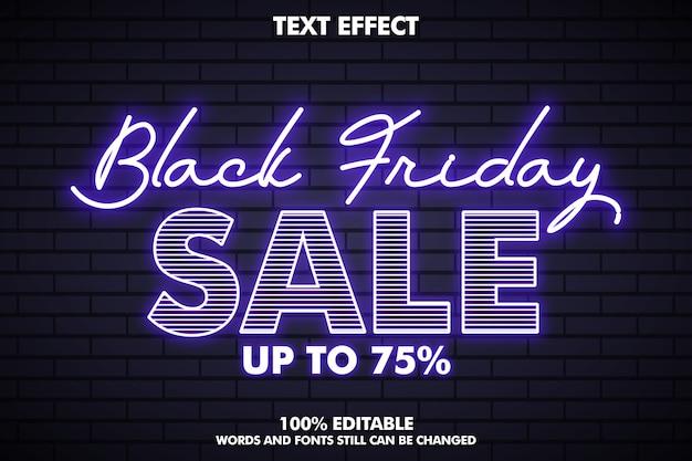 Effetto testo venerdì nero con effetto luce al neon, banner venerdì nero per la promozione