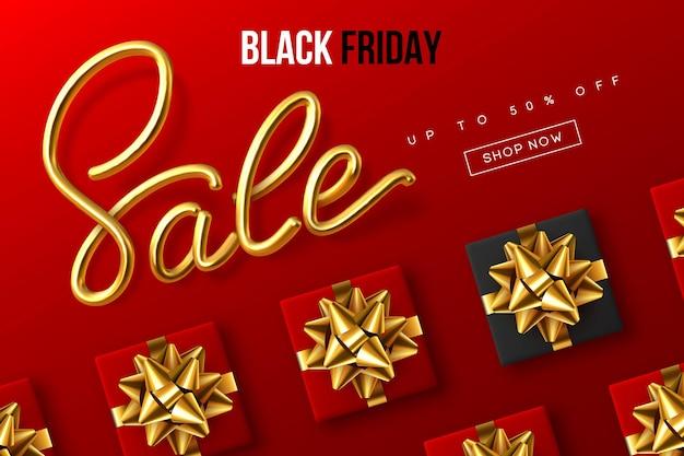 Design tipografico del black friday. segno di calligrafia metallica scritta a mano vendita con confezione regalo. modello di banner di vendita. sfondo rosso. vettore.