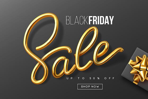 Design tipografico del black friday. segno di calligrafia metallica scritta a mano vendita con confezione regalo. modello di banner di vendita. vettore.