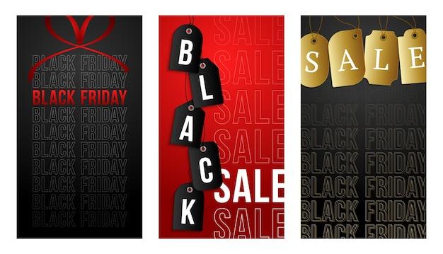 Banner verticale del black friday per storie. set di storie sui social media a tema venerdì nero post banner.