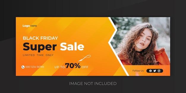 Foto di copertina della vendita del weekend del black friday e modello di banner di copertina della super vendita