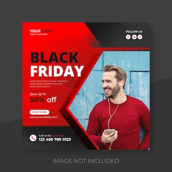 Post di social media di vendita del fine settimana del black friday e post di instagram super vendita premium vector