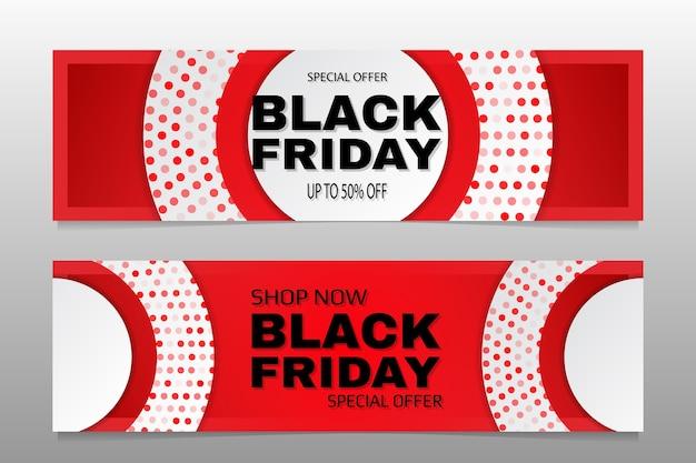Venerdì nero, ampia raccolta di banner. insieme di modelli di banner di promozione di vendita ampia rosso e bianco di venerdì nero.