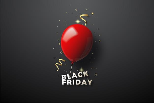 Venerdì nero con illustrazione 3d ballon rosso sul nero.