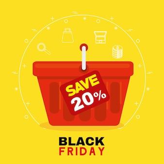 Venerdì nero con design del cestino, offerta di vendita, risparmio e shopping