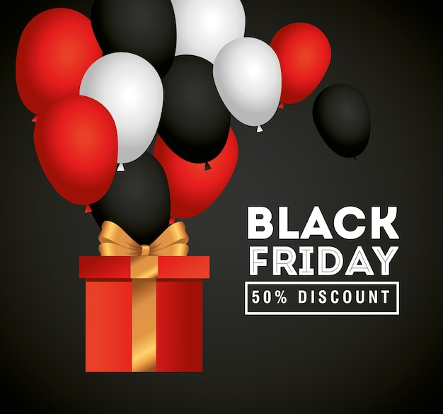 Venerdì nero con design regalo e palloncini, offerta di vendita salva e shopping