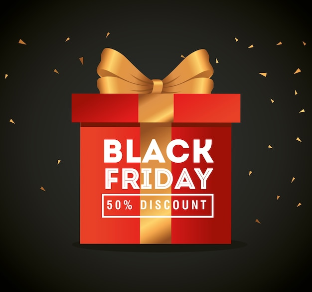 Venerdì nero con design regalo, offerta di vendita, risparmio e shopping
