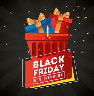 Venerdì nero con doni nel design del cestino, offerta di vendita risparmia e shopping